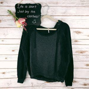 Free People Sweatshirt Size S Hooded Crochet Trim